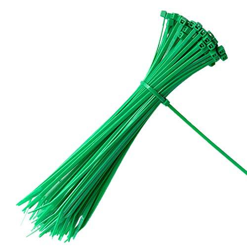 100 piezas 200 x 3 mm abrazaderas de cable de jardín con cierre automático planta verde lazos de nylon ajustables lazos de cremallera multiusos