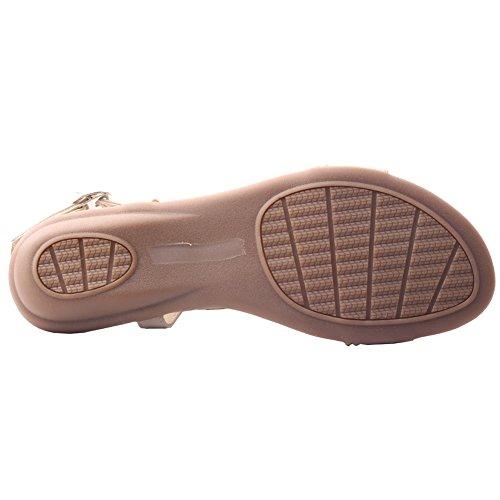 Unze Casual sandali piani delle donne 'Bianco' Beige