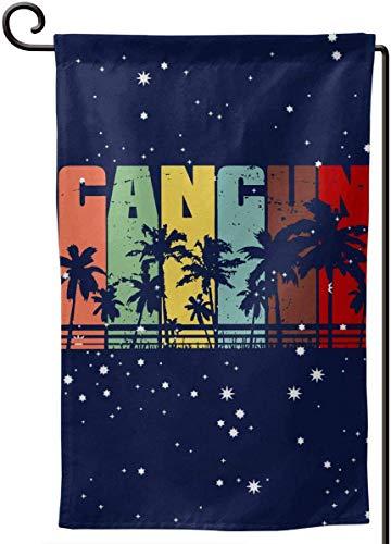 N/A Vintage Retro Cancun Palme Garten Flagge gedruckt Garten Home Flag Demonstration Home Flagge 12,5 X 18 Zoll Platz -