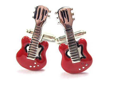 Gitarren Manschettenknöpfe Musik Instrument rot