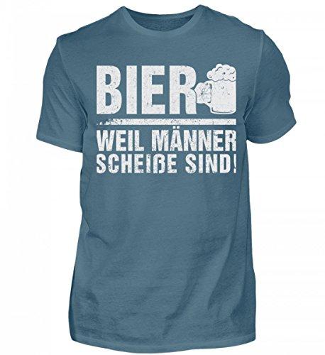 Shirtee Hochwertiges Herren Bier Weil Männer Scheiße Sind! Steinblau