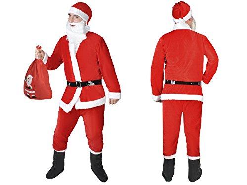 Iso Trade 7-teilig Weihnachtsmann Kostüm Nikolaus Plüsch Einheitsgröße - Kinder Weihnachtsmann Kostüm Muster