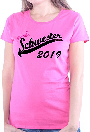 Mister Merchandise Ladies Damen Frauen T-Shirt Große Schwester 2019 Sister Tee Mädchen Bedruckt Pink, XL (Große Schwester T-shirt Womens Pink)