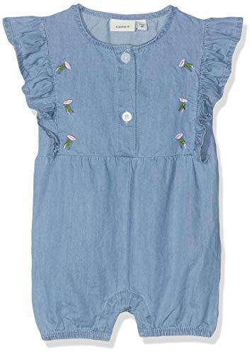 NAME IT Baby-Mädchen NBFABIANA DNM 2202 SS Shorts Suit Strampler, Blau (Medium Blue Denim), (Herstellergröße: 56) - Denim-shorts Strampler