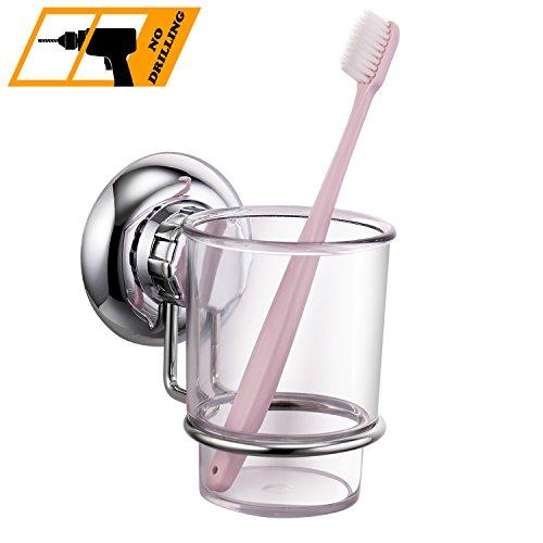 MaxHold Saugschraube Zahnbürste Becherhalter mit 1 Zahnputzbecher, Befestigen ohne Bohren - Edelstahl rostfrei - Küchen & Badezimmer Aufbewahrung