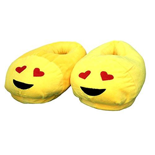 EKNA Emoji Hausschuhe, Gr. 35-43 Unisex, Motivauswahl Kacki / Kackhaufen; Smiley Verliebt u. Kuss Verliebt