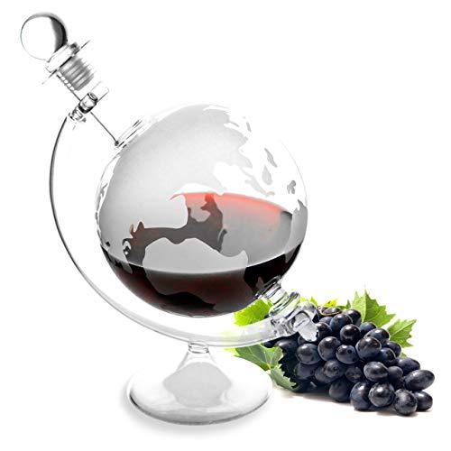 Lantelme 4964 Cognac Whiskykaraffe. Glas Karaffe mit eingravierter Weltkugel - Für Whisky, Wein, Likör und mehr