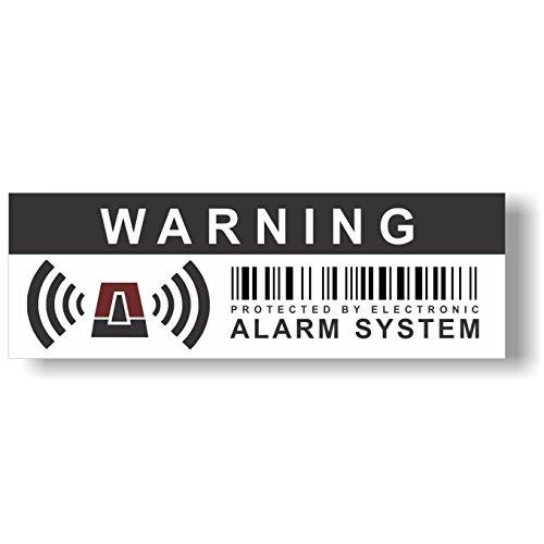 12 x seguridad alarma señal de advertencia pegatinas - para uso interno y externo - Protección para Casa, Coche... - resistente al agua - tamaño: 10,5 x 3,5 cm - 'Warning - Protected by electronic alarm system'