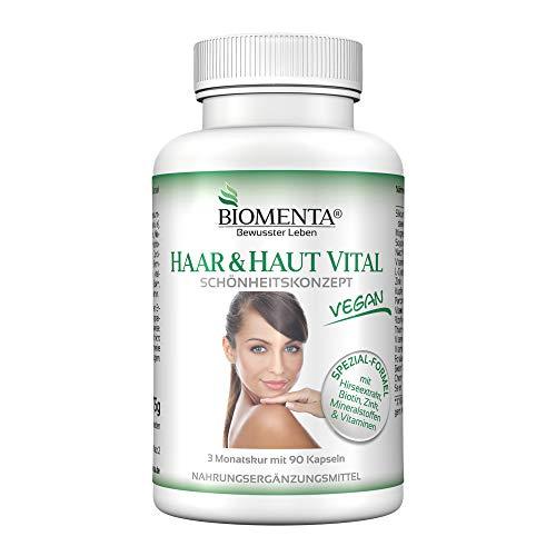 BIOMENTA HAAR & HAUT VITAL | AKTIONSPREIS!!! | mit siliciumhaltigem Hirse-Extrakt, Biotin, Zink, Selen, L-Cystein, B-Vitaminen, Mineralstoffen | 90 Haar-Haut-Kapseln | VEGAN | 3 Monatskur