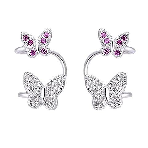 SELOVO 925 Sterling Silver Zircon Butterfly Clip on Stud Earrings Non Pierced Cuff Wrap Earrings for