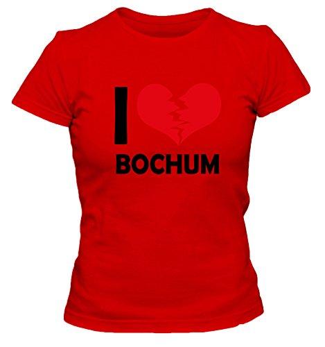 I don\'t love Bochum FUN Damen T-Shirt, Größe:XL;Farbe:rot
