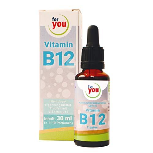 for you Vitamin B12 flüssig frei von Konservierung- und Zusatzstoffe & ohne Alkohol I Vitamin B12 Methylcobalamin pro Tropfen 200µg I Vit B12 vegan 30 ml (1110 Portionen I täglich 1000µg)