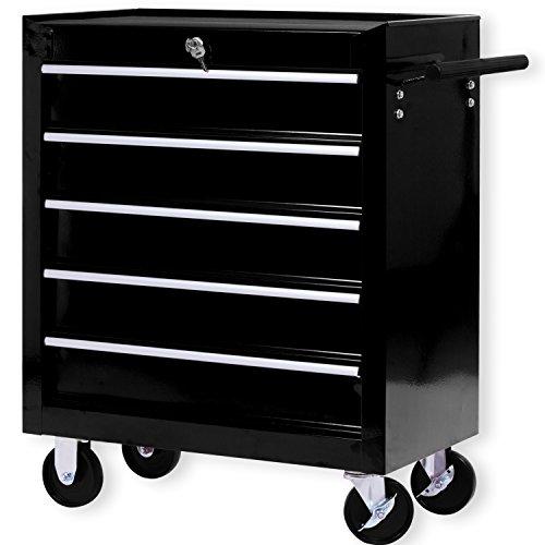 Masko® Werkstattwagen - 5 Schubladen, schwarz ✓ Abschließbar ✓ Massives Metall | Mobiler Werkzeug-Wagen ohne Werkzeug | Profi Werkstatt-Wagen | Rollwagen zur Werkzeugaufbewahrung mit Schloss | - 5