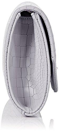 SwankySwans Damen Bruni Croc Pu Leather Clutch Bag Grey Tasche Grau