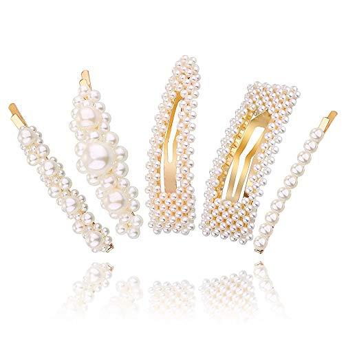 MJARTORIA 5/15 Stück Haarspangen Damen Perlen Braut Hochzeit Künstliche Perle Haarnadeln Haarschmuck für Mädchen Frauen (5 PCS) -
