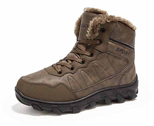 Uomini Stivali Di Neve 2017 Pelle Calda Invernale Foderata Sport Esterne Cotone High-top Camminate Stivali Grandi Dimensioni Brown 2