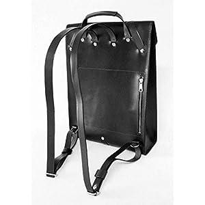 41%2BeW3dh8EL. SS300  - Mochila para portátil de cuero, para hombre, bolso viaje para ordenador, negro