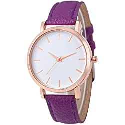 WINWINTOM Leather Analog Quartz Wrist Watch Purple