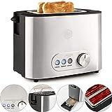 Balter Toaster 2 Scheiben ✓ Brötchenaufsatz ✓ Auftaufunktion ✓ Brotzentrierung ✓ Krümelschublade ✓ Edelstahlgehäuse ✓ Farbe: Silber (Zwei Scheiben)