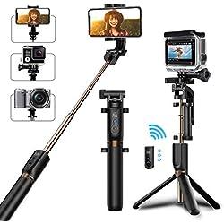Bovon Perche Selfie Trépied, Bluetooth Selfie Stick Monopode Extensible avec Télécommande, 360° Rotable Bâton de Selfie pour Smarphones, Gopro et Caméras d'action