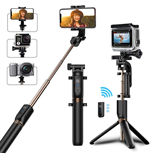 Bovon bastone selfie, selfie stick treppiedi con bluetooth telecomando [ rotazione di 360°] estensibile asta selfie per gopro, selfie stick bluetooth per smartphone, gopro, fotocamera etc