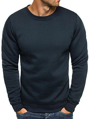 OZONEE Herren Sweatshirt Langarmshirt Pullover Pulli Warm Basic SJ 2001-10 XL DUNKELBLAU