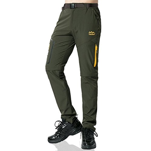Preisvergleich Produktbild SEEU Trekkinghose Zip Off Atmungsaktiv Wanderhose Outdoor Hose Entfernbar Schnell Trockend (Mit Gürtel) (Grün,  XL)
