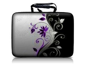 Luxburg® Design Hardcase Laptoptasche Notebooktasche für 15,6 Zoll, Motiv: Blumentornament lila-weiß