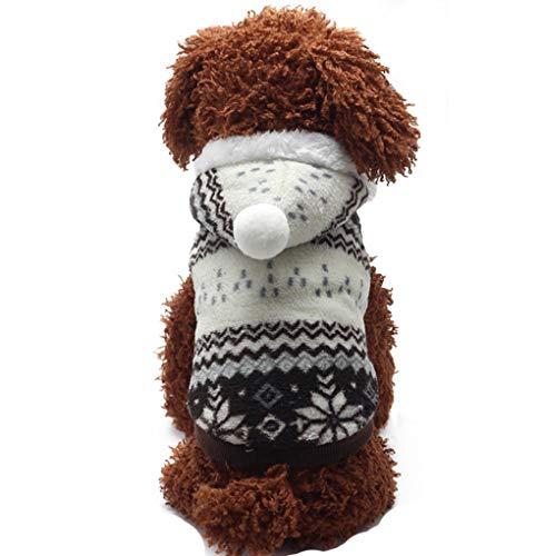 Dehots Hundepullover Hundejacke Hundemantel Winter für Kleine Hunde Haustier Hundewelpen Kleidung Weihnachten mit Kapuze Wintermantel/Winterjacke Weihnachts kostüm (Am Besten Weihnachts-kostüm)