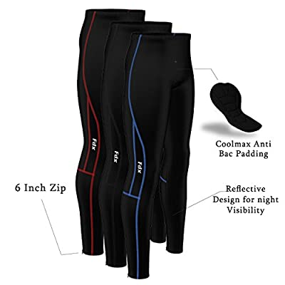 FDX Mens Compression Cycling Tights Padded Cycle Leggings Trouser Long Pants