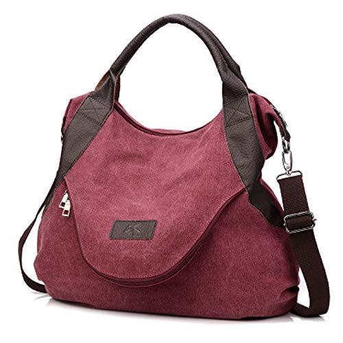 Qiusa Hohe Qualität Doppel-Reißverschluss beiläufige Frauen Segeltuch Portable Messenger Tasche Mode Fan Tasche Weiblichen Pendler Tasche (Farbe : Rot)