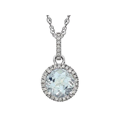 Halskette Weißgold 14 Karat Halo-Geburtsstein inklusive Schmuckgeschenk - Ring Aquamarin Halo Und Diamant