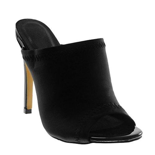 Angkorly Damen Schuhe Mule Pumpe - Slip-On - Stiletto - Peep-Toe - Fertig Steppnähte Stiletto High Heel 12 cm - Schwarz JM-104 T 36