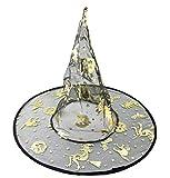 LEGISDREAM Cappello da Strega Colore Nero Trasparente con Decorazioni Dorate Zucche e Streghe Accessorio Travestimento Halloween Carnevale