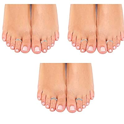 Om Jewells White Alloy Rhodium Designer Adjustable Toe Ring for Women - Combo of 3