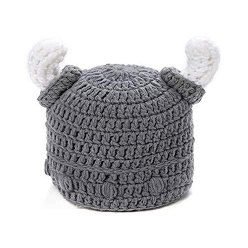 Imagen de gaoxuqiang sombrero infantil de invierno para bebé sombreros de ganchillo hechos a mano niño viking horns hat,gray,s