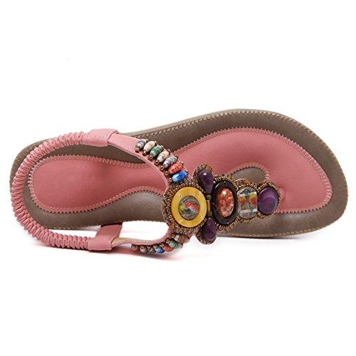 Damenschuhe Pumps Zehentrenner Sandalen T-Spange Beschlagene Flache Schuhe Sling Back Pink
