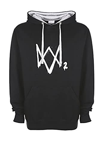 Watch Dogs Video Game DedSec Art Logo Black / Grey Unisex Top Quality Contrast Hoodie Large