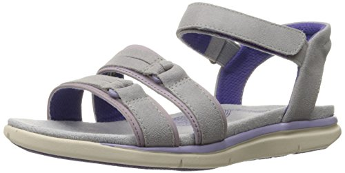 Hush Puppies Women's Margo Aida Wedge Sandal, Light Grey/Lilac Leather, 10 M US Light Grey/Lilac Leather