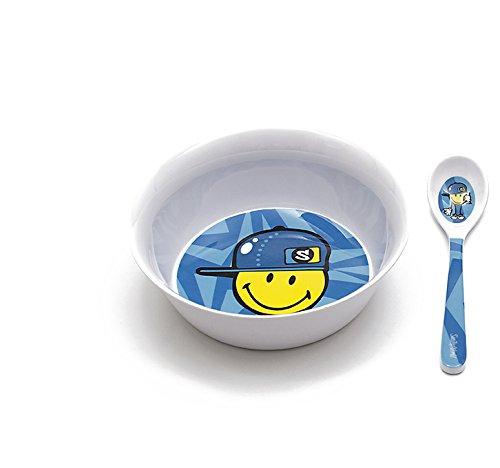 Smiley Boy Frühstücks-Set 2-teilig, blau, 14 cm