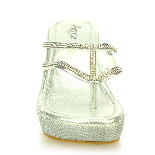 Femmes dames soir enfiler casual compensé talon diamante sandale chaussures taille (Noir, Or, Argent) Argent