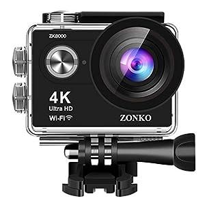 Action Kamera ZONKO 4k Sport Action Cam Wi-Fi 12MP Ultra HD 30M Unterwasserkamera 2 Zoll LCD 170°Weitwinkel Helmkamera mit 2 verbesserten Batterien und Zubehör Kits und Accessoires (Schwarz 4K)