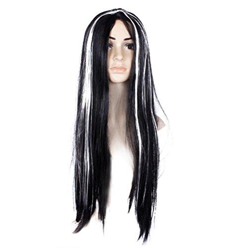 BESTOYARD Frauen Mädchen Lange Gerade Schwarz Kunstfaser perücke mit weißem Highlight Perücke Geist Perücke Für Halloween Cosplay Kostüm
