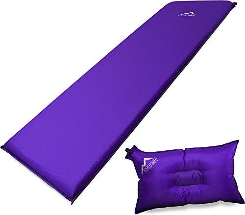 Selbstaufblasbare Luftmatratze inkl. Kissen zum Outdoor Camping Farbe Violett Größe 197 x 64 x 7 cm