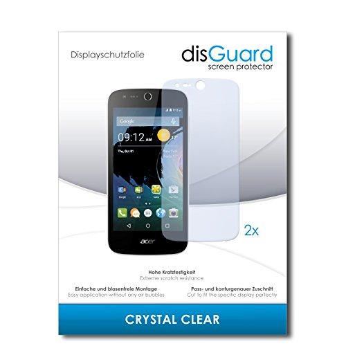 disGuard® Bildschirmschutzfolie [Crystal Clear] kompatibel mit Acer Liquid Z320 [2 Stück] Kristallklar, Transparent, Unsichtbar, Extrem Kratzfest, Anti-Fingerabdruck - Panzerglas Folie, Schutzfolie