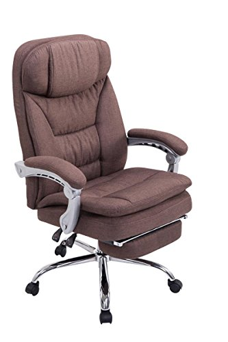 Swivel desk chair, Manager Boss office chair, High Back Executive Fabric Chair Recliner, Extra Padded Computer Chair Heavy duty ergonomic office chair Multi-Function Mechanism / brown eMarkooz