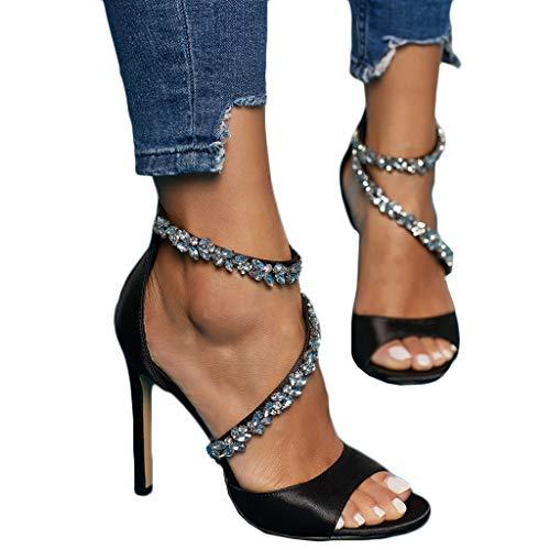 Frauit sandali estivi donna con tacco a spillo gioiello scarpe ragazza tacco alto sexy trasparenti con strass sandali estive donne eleganti da cerimonia per sposi sandalo ragazze tacco medio