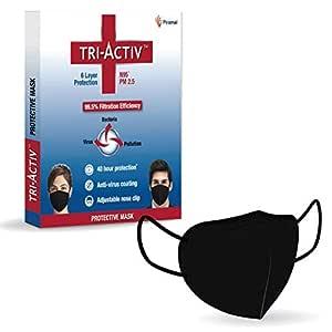 Tri-Activ 6 Layer Protective Face Masks, PM2.5 / N95 Tested as per NIOSH standard, Anti-Virus Coating, 99.5% Filtration Efficiency, Black mask