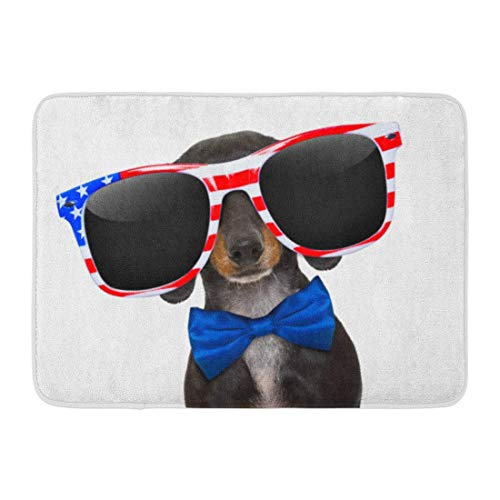 Fußmatten Badteppiche Outdoor/Indoor Fußmatte Patriotische Dackel Wurst Hund trägt eine Sonnenbrille der USA am Unabhängigkeitstag 4. Juli Tier Badezimmer Dekor Teppich Badematte