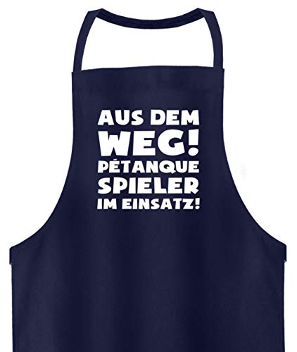 shirt-o-magic Petanque: Petanquespieler im Einsatz! - Hochwertige Grillschürze -Einheitsgröße-Dunkel-Blau